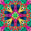 CELTIC MANDALA, ABSTRACT SHAPE, TEXTURE, BLUE CIRCLE, PURPLE CROSS, ROPES IN YELLOW, RED, FUCHSIA, GREEN CENTER,GEOMETRIC