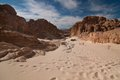 Sinai desert with sand and sun under blue sky in december Royalty Free Stock Photo