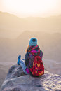 Sinai mountains and giirl Royalty Free Stock Photo
