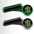 Sinal de dólar em moldes verdes e cinzentos inclinados Fotos de Stock Royalty Free