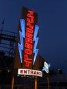 Sinal de néon para um roller coaster do vintage Foto de Stock