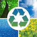 Sinal de recicl conceptual com imagens da natureza Fotografia de Stock Royalty Free