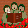 Sing noel noel street corner carolers with poinsettia foreground illustration Stock Image