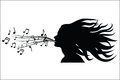Sing woman silhouette vector illustration Stock Photos