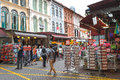 SINGAPORE - AUGUST 8, 2014 Shoppers walk through Chinatown as Singapore welcomes in Singapore. The city state`s ethnic Chinese beg Royalty Free Stock Photo