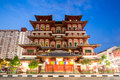 Singapore buddha tooth relic temple at dusk Stock Photo