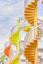 Singapore at Bugis Village spiral staircases. Royalty Free Stock Photo