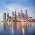 Singapore business district s at night Royalty Free Stock Photo