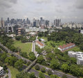 Singapore cbd city skyline and planned landscaping central business district aerial view Stock Image