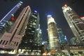 Singapore CBD at Night Royalty Free Stock Photo