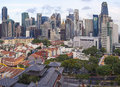 Singapore central business district over chinatown area city cbd with old houses and chinese temple Royalty Free Stock Image