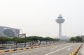 Singapore changi airport during south east asia haze crisis hazy skies at s international the forest fires in sumatra and borneo Stock Photos