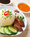 Singapore chicken rice asian style hainan close up asian food Stock Image