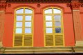 Singapore chinatown district of asia closed colorful windows Stock Photo