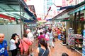 Singapore chinatown district in in the evening s is a world famous bargain shopping destination Stock Photos