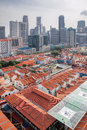 Singapore chinatown with modern skyline backdrop aerial view Royalty Free Stock Image