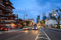 Singapore chinatown urban road twilight Royalty Free Stock Images