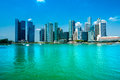 Singapore city skyline fish eye view of at sunset Royalty Free Stock Photo