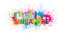 Singapore city skyline paint splatter vector illustration silhouette outline panorama color with text and abstract isolated on Stock Photo
