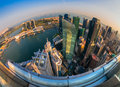 Singapore city skyline at sunset fish eye view of Stock Photo