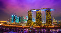 Singapore city skyline at sunset fish eye view of Royalty Free Stock Images