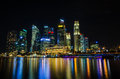 Singapore city skyline view of business district in the night ti time with beautiful water reflections Stock Photo