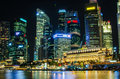 Singapore city skyline view of business district in the night ti time with beautiful water reflections Stock Image