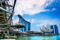 Singapore city skyline wide angle view of at sunset Royalty Free Stock Photography