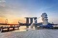 Singapore Merlion when sunrise Royalty Free Stock Photo