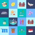 Singapore Culture Flat Icon Set