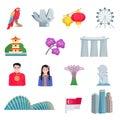 Singapore Culture Flat Icons Set