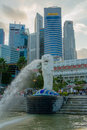 Singapore feb the merlion fountain in singapore is a imaginary creature with head of a lion seen as a symbol of Royalty Free Stock Images