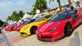 Singapore ferrari club owners showcasing their ferrari cars during singapore yacht show at one degree marina club sentosa cove Royalty Free Stock Photos