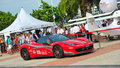 Singapore ferrari club owners showcasing their ferrari cars during singapore yacht show at one degree marina club sentosa cove Stock Images