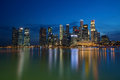 Singapore financial district cbd skyline reflection at night the lights of the reflect on the water of the river in marina bay Stock Photography