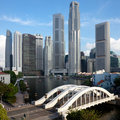Singapore financial district and Elgin Bridge Stock Photography