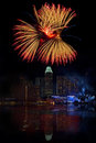Singapore fireworks over marina bay in Stock Photo