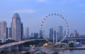 Singapore flyer in the evening at time with view of benjamin sheares bridge Stock Photography