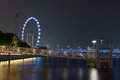 Singapore flyer at night marina bay water with on background Royalty Free Stock Photos