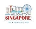 Singapore header text sticker Royalty Free Stock Photo