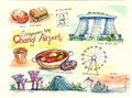 Singapore illustration travel landmark places and food Royalty Free Stock Images