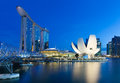 Singapore - July 10: Marina Bay Sands Hotel, Art Science Museum, Helix Bridge at 10 July 2013. Royalty Free Stock Photo