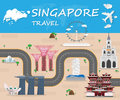Singapore  Landmark Global Travel And Journey Infographic Vector Royalty Free Stock Photo