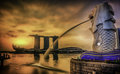 Singapore landmark merlion with sunrise Royalty Free Stock Images