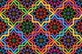 Singapore Malay Hari Raya Haji neon symmetry corner connect seamless pattern