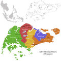 Singapore map administrative division of the republic of Royalty Free Stock Photography
