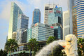 Singapore march merlion fountain spouts water front singapore skyline march merlion imaginary creature head lion often seen as Stock Images