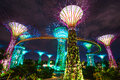 Singapore march night view of the supertree grove at gardens by the bay on march in singapore spanning hectares of reclaimed land Royalty Free Stock Image
