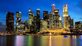 Singapore marina bay business district Royaltyfria Bilder