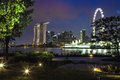 Singapore marina bay cityscape night Royalty Free Stock Photos